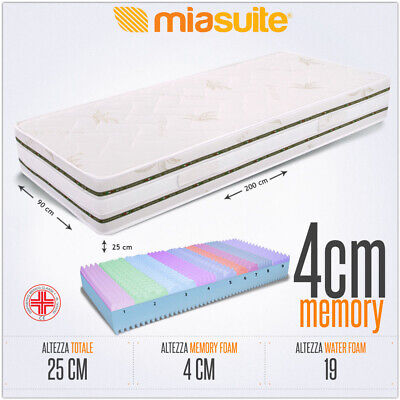 Olimpo Materasso Multionda sfoderabile Memory foam aloe H25 cm tutte le misure