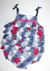 VINTAGE-COUTURE-Kids-Boutique-Precious-Ruffles-Roses-Romper-Girl-Size-24-Months