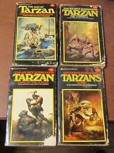 4-VINTAGE-TARZAN-PAPERBACK-BOOKS