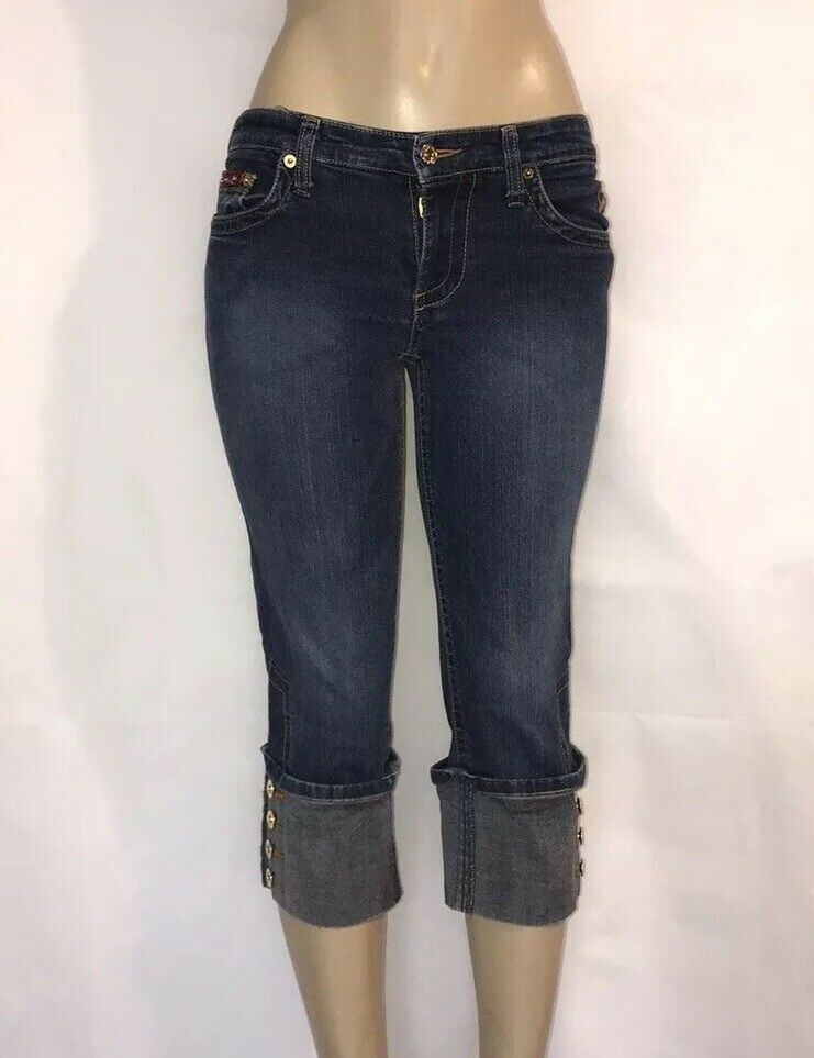 Baby Phat Jeans Co Women Jr Sz 9 Jeans Distressed Flare Stretch Dark bluee Denim