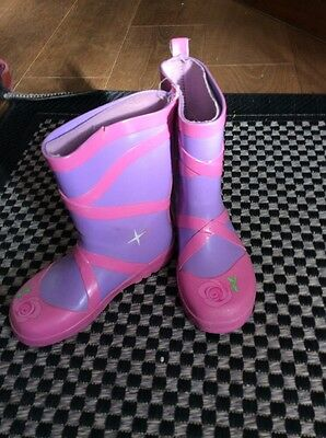 Linda Rosa y Lila Ballet Estilo Wellington Botas Childs Kidorable 12