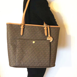 b76753bc4 NWT Michael Michael Kors Jet Set Large Snap Pocket Tote Signature ...