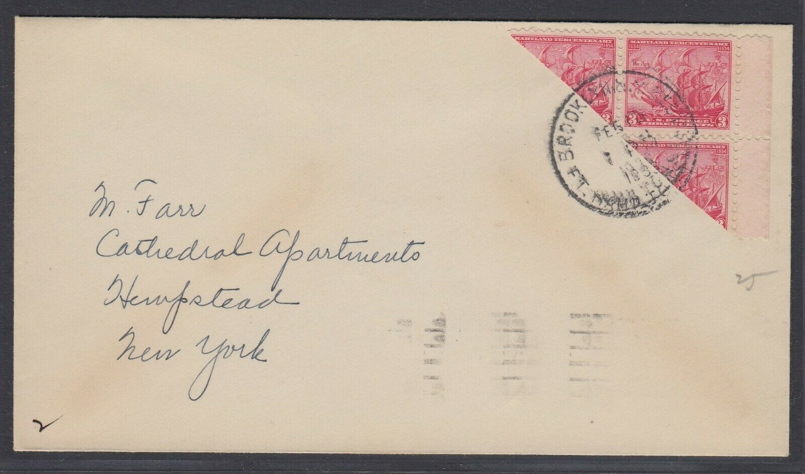US Sc 736 - 1936 Diagonal BISECT on cover from Brooklyn NY to Hempstead NY