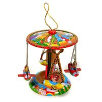 Tin Toy Ornament Carousel Merry Go Round Christmas Tree Retro Vintage Style