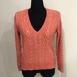 Eddie-Bauer-Women-039-s-Long-Sleeve-Cable-Knit-Sweater-V-Neck-Size-S