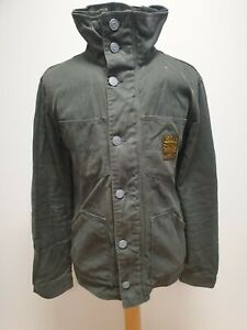 S465 Herren-grau Knopfleiste hoher Kragen Denim Jacke UK M EU 50