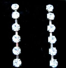 """2"""" 55mm extra Very long silver tone diamante sparkle Bling Dangle Drop Earrings"""