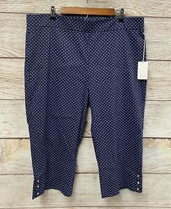 Style Me Pantalones Ajustados Para Mujer Talla 3x Blue Dot Stretch Slim Fit Pantalones Capri Nuevo Ebay