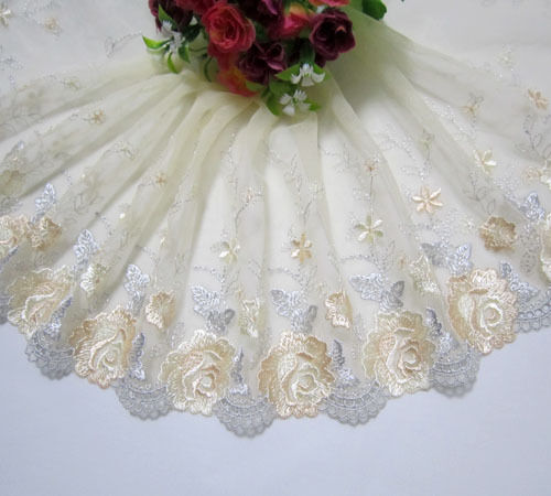 """7""""*1 Yard Embroidered Floral Tulle Lace Trim Sewing/Craft~Yellow~Gray"""