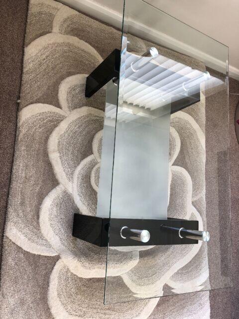Living Room Coffee Table Modern Black Clear Glass Chrome Lower Shelf