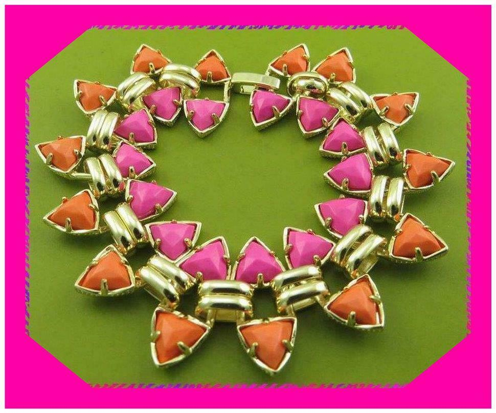KENDRA SCOTT ROBBY 14K gold Plated Pink Hibiscus & Coral BRACELET NWotag  195