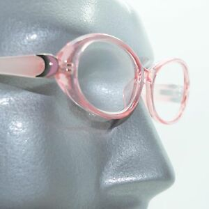 13ddd3e2249 Details about Fun Reading Glasses See Thru 50 s Pink Whimsy Oval Jelly Frame  +2.75 Lens