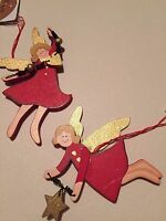 Flying Angel Christmas Decoration Painted Wood with gold heart or star detail