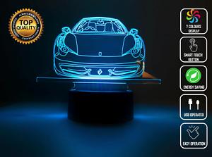 Details about FERRARI CAR 3D Acrylic LED Colour Night Light Touch Table  Desk Lamp Gift