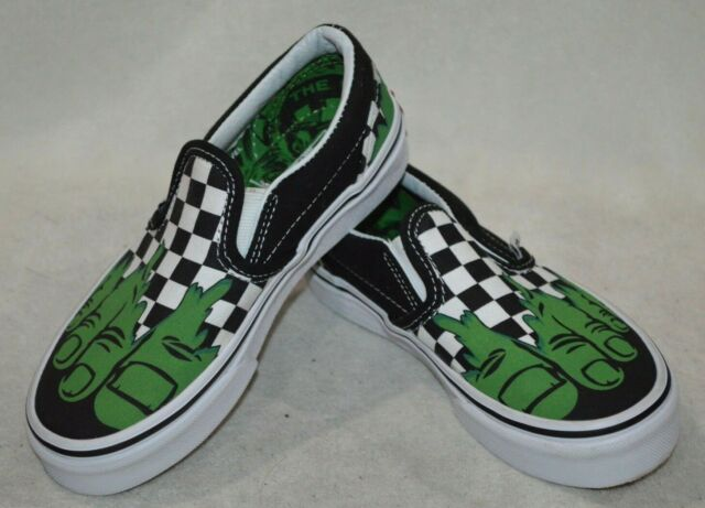 94d2f1a6900481 Vans Boy s Classic Marvel Hulk Checkerboard Slip On Skate Shoes-Asst Sizes  NWB