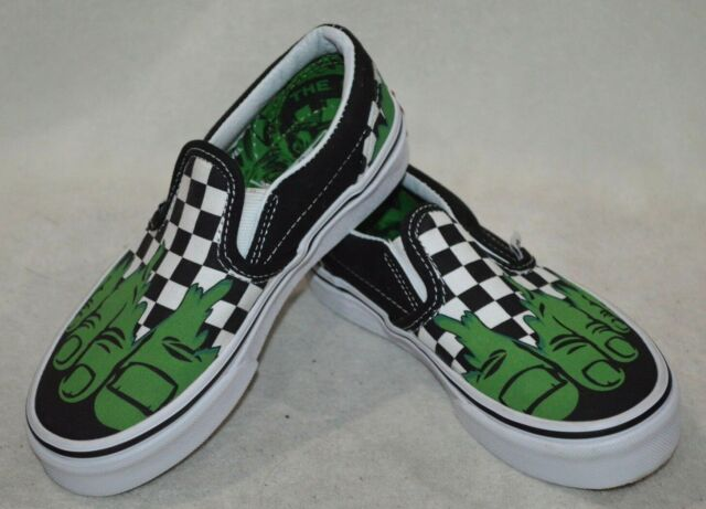 VANS X Marvel Classic Slip on Hulk Checkerboard Shoes Sz Kids 2.5 ... 217bb25e1