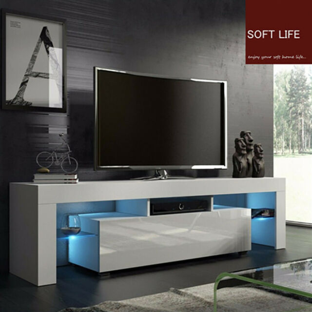 """High Gloss White 51"""" TV Stand Unit Cabinet w/LED Light Shelves Console Furniture"""