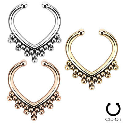 Faux Non Piercing Beaded Heart SEPTUM Nose ClipOn Hanger RINGS Stud Body Jewelry