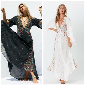 Occident-Womens-V-neck-Boho-Floral-Print-Holiday-Beach-3-4Sleeve-Long-Dress-Maxi