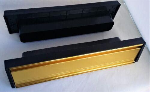 "GOLD Modern 12/"" Letter Box Letter Plate Set Brushes Timber UPVC Doors UAP  D15"