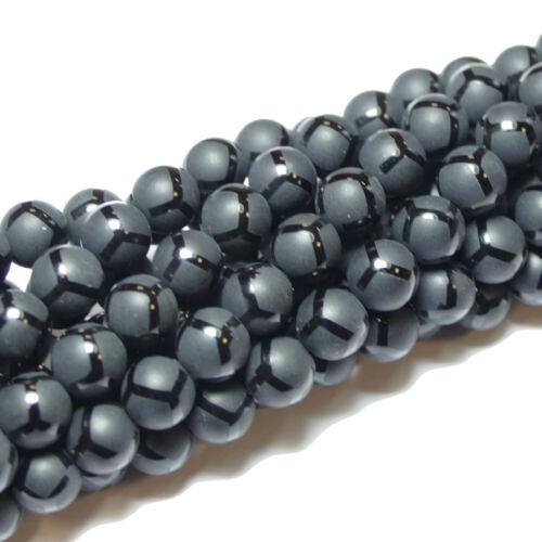 1 Strang BACATUS Edelstein #5007 Onyx Perle Kugel Ball Muster 6-10 mm