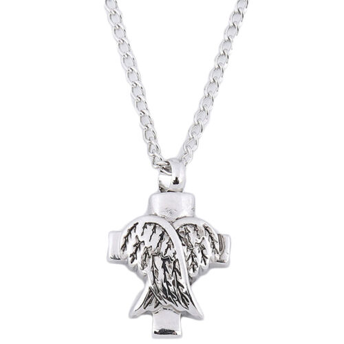 Silver Angel Wings Cross Cremation Memorial Pendant Urn Necklace Ashes Holder 50