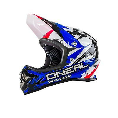 Cordiale Oneal Backflip Casco Dh Rl2 Shocker Rosso Blu Mtb Fullface Downhill Mountain Bike- Luminoso A Colori