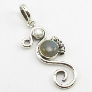 Sterling-Silver-Rainbow-Moonstone-Pearl-Pendant-1-7-034-Wedding-Gift-Jewelry