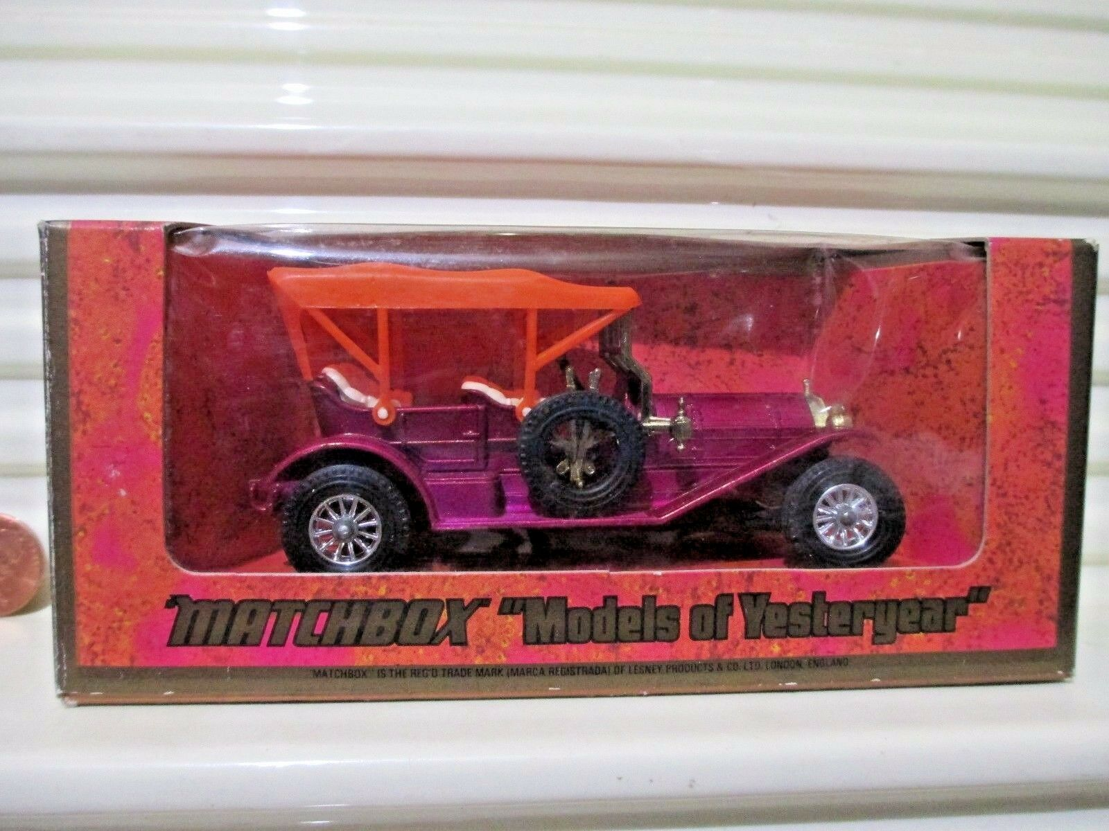 Matchbox Models of Yesteryear 1975 Y12B PURPLE 1909 THOMAS FLYABOUT orange ROOF