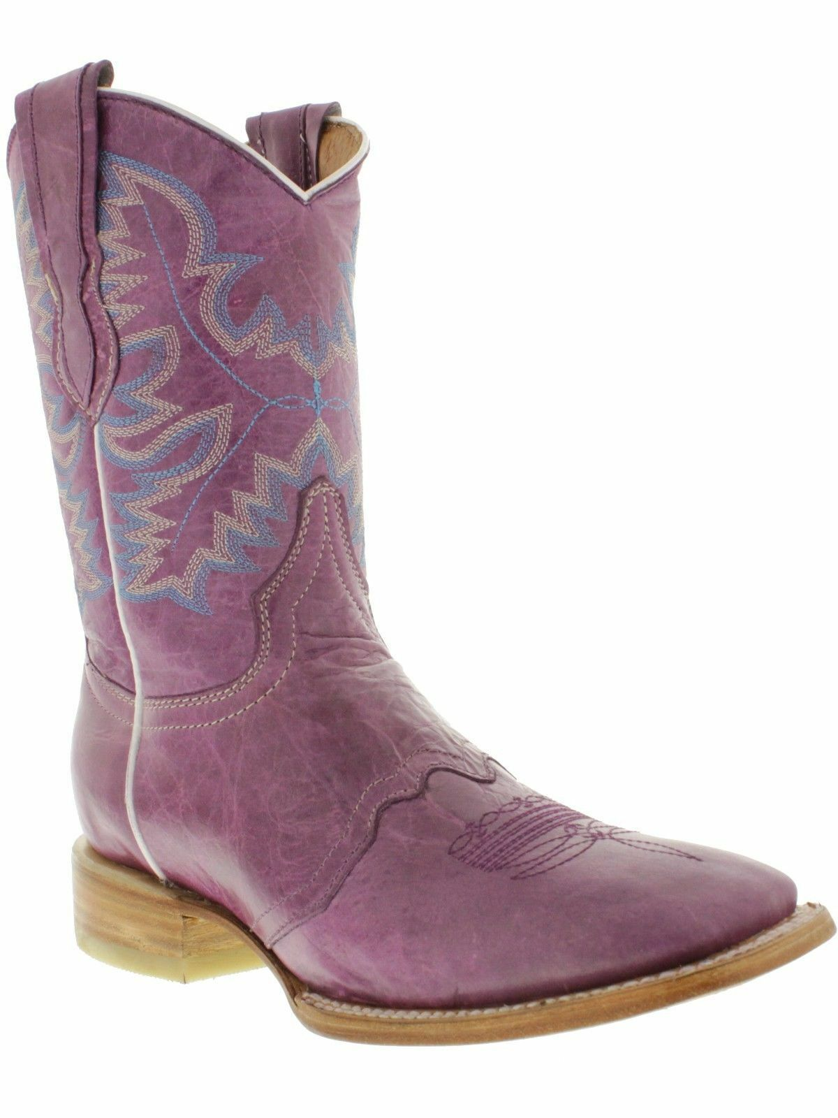 Women's Purple Purple Purple Stitched Leather Mid Calf Cowgirl Boots Western Wear Square Toe b6c850