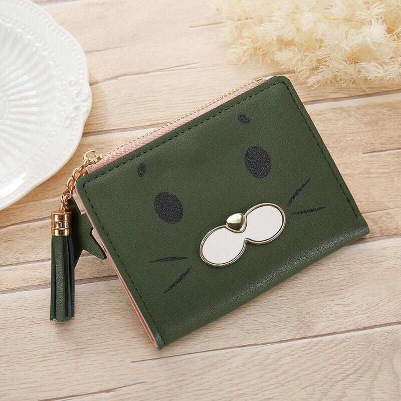 New Cat Women's Simple Zip Wallet Card Holder Short Card clutch Bag ONE LC