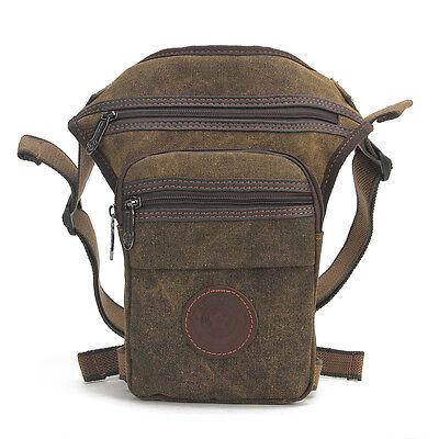 Men Canvas Travel Motorcycle Messenger Shoulder Belt Fanny Pack Waist Leg Bag