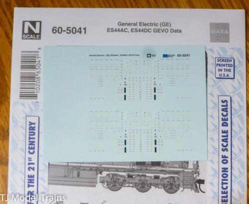 Microscale Decal N #60-5041 General Electric (GE) ES44AC - ES44DC - GEVO - Data