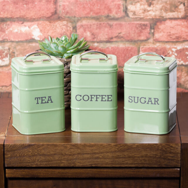 Vintage Sage Green Enamel Tea Coffee Sugar Storage Jars Canisters Containers