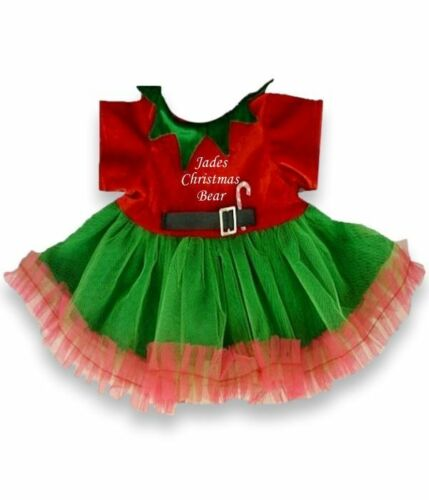 "Teddy Clothes 15-16/"" fits Build a Bear Christmas Elf Dress Outfit Personalised"