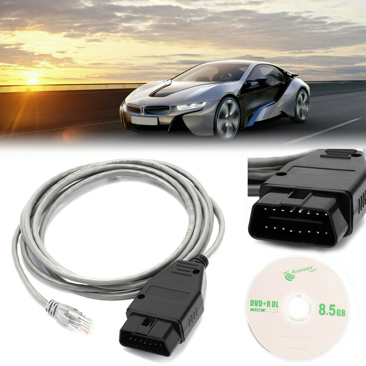 Ethernet to OBD Interface Cable E-SYS ICOM Coding F-Series Fit for BMW PARANNIC ENET Yellow OBDII-RJ45