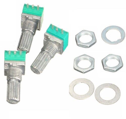 6PCS 6mm 3pin Knurled Shaft Single Linear B Type B10K ohm Rotary Potentiometer K