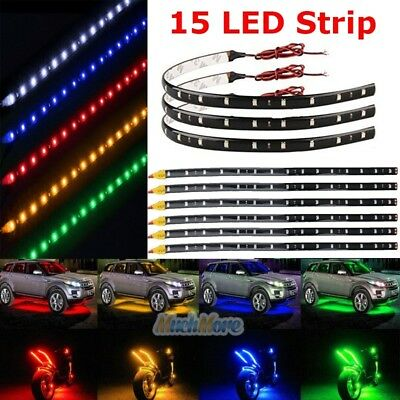 HYADA DC 12V Waterproof 1Ft 15 LED Strip Underbody Light with 6 inches Wires for Motor Amber,Pack of 6