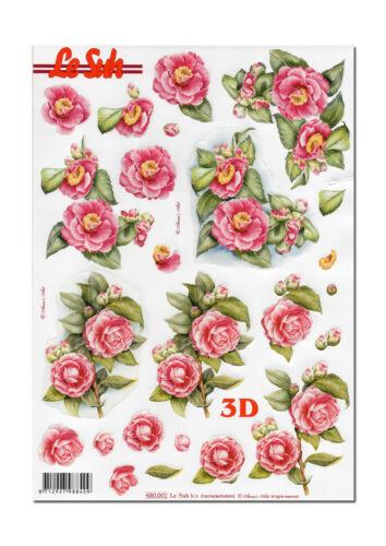 Grusskarte 3D Motivbogen Etappenbogen 3D Bild gestanzt  Motiv Rosen 215