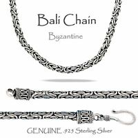 2.5 Mm - Bali - Byzantine Silver Chain - Genuine Sterling Silver