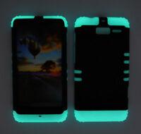 Blue Hybrid Hard Cover w/ Glow in Dark Skin Case for Motorola Droid Razr M XT907