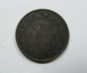 Canada-Queen-Victoria-Large-One-Cent-1891-SD-SL-RARE