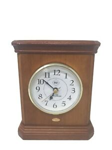 Seth-Thomas-Wood-Desk-Mantle-Mantel-Clock-Sears-Battery-Operated-7x6-Has-Scuffs