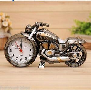 Creative-Fine-Motorbike-Motorcycle-Gold-Alarm-Clock-Ornament-AA-Battery-Incl