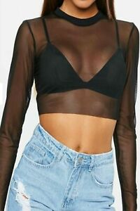 Womens-Sheer-Mesh-Crop-Top-Ladies-Girls-Long-Sleeve-Crew-Neck-Stretchy-T-Shirt