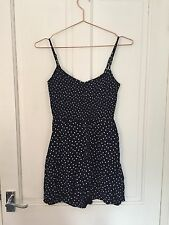 H&M blue and white polka dot elastic strappy summer dress size 8