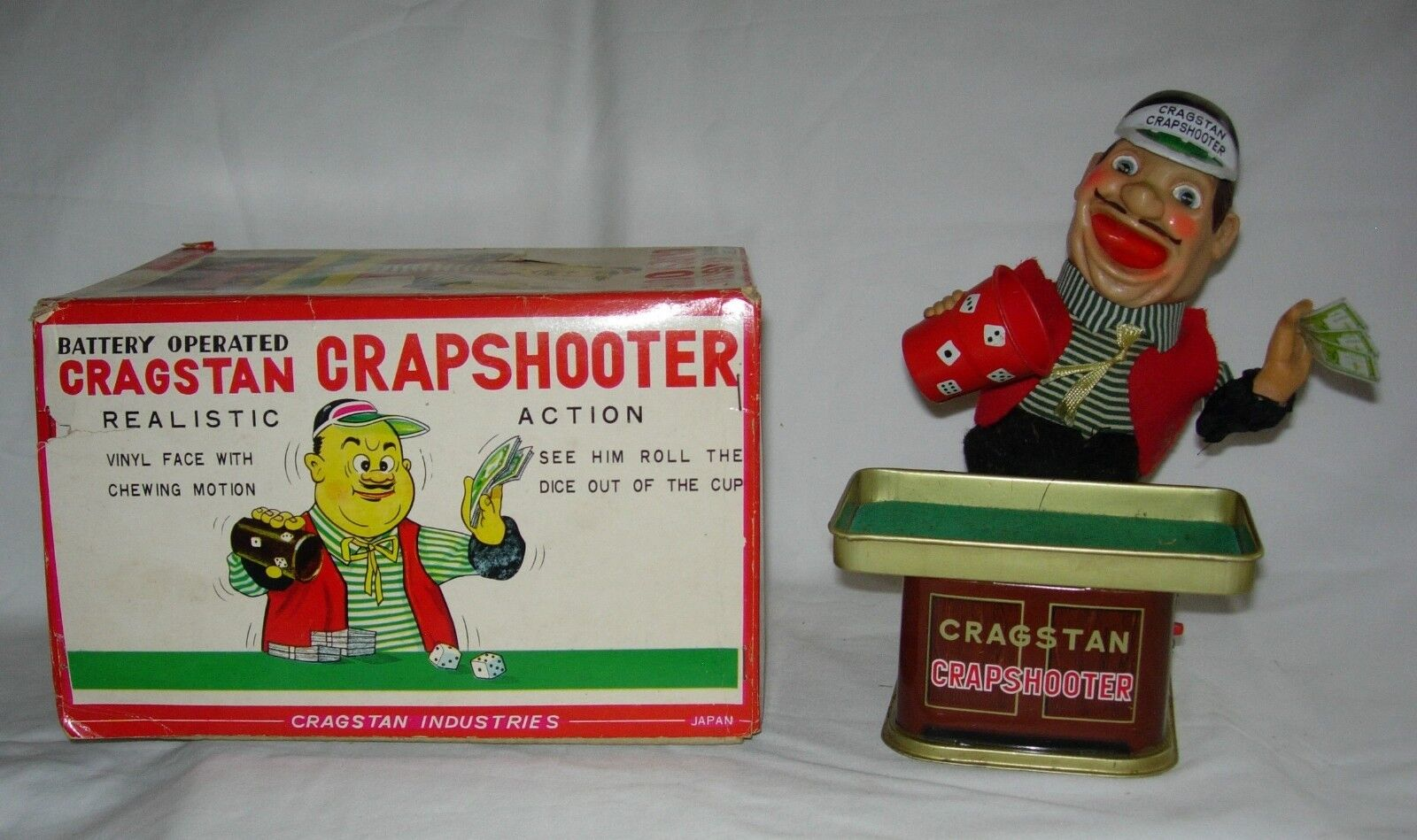 WONDERFUL 1950's CRAGSTON   CRAPSHOOTER  BATTERY OPERATED TOY W ORIGINAL BOX