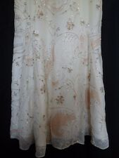 BNWT **Beaded & Embroidered** Beige to Ivory Ombre Occasion / Party Dress UK 8