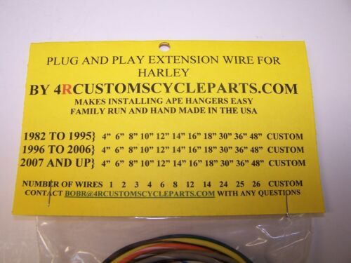 "Harley 12/"" handlebar wiring 26 wire 2 pin 07-13 switch extension PTT FLH FLT"