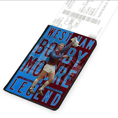 Bobby Moore West Ham Passport Case Travel ID Card Holder Football Legend LG14